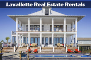 Lavallette Real Estate Rentals in white text on shaded black rectangle over a picture of a two-story white home with a pool
