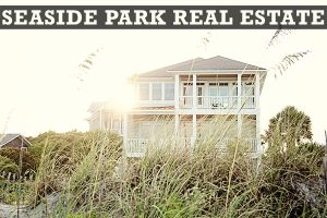 Seaside Park Real Estate in block letters on black stripe at top of picture of beach house in background with beach grass in the foreground